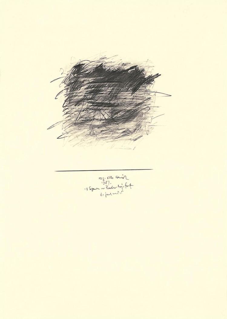 V spomin na Bader Majnhof / In memory of Bader Majnhof / Zur Erinerung an Bader Majnhof, 1981, grafit, papir / graphite, paper / Grafit, Papier, 42 x 59 cm