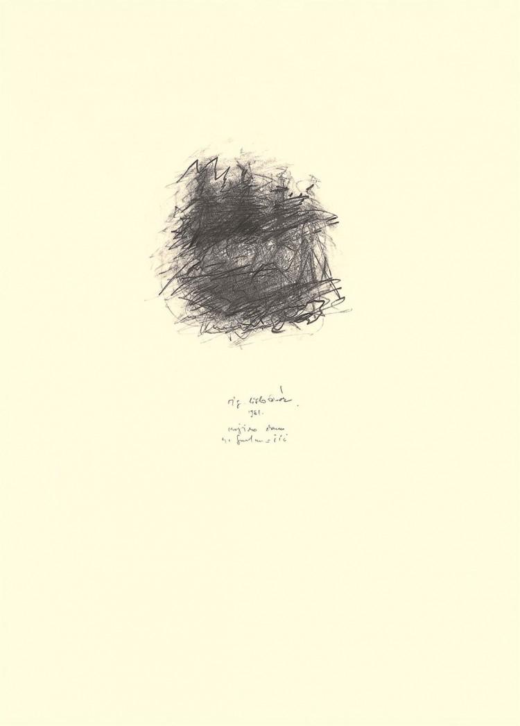 Krajina / Landscape / Landschaft, 1981, grafit, papir / graphite, paper / Grafit, Papier, 60 x 42 cm
