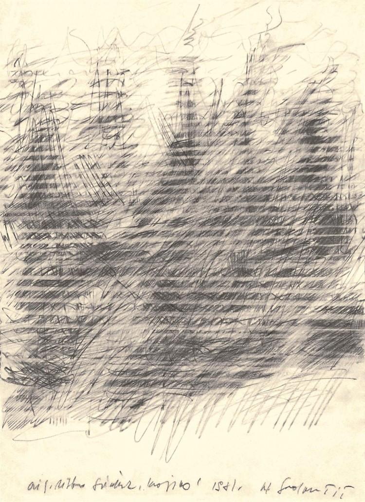 Krajina / Landscape / Landschaft, 1981, grafit, papir / graphite, paper / Grafit, Papier, 59 x 43 cm
