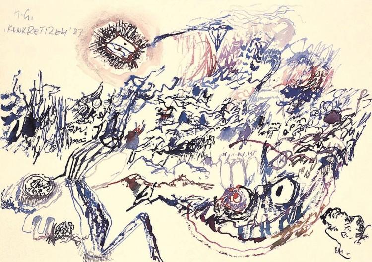 Konkretizem / Concretism / Konkretismus, 1983, akvarel / watercolour, 25 x 35,5 cm