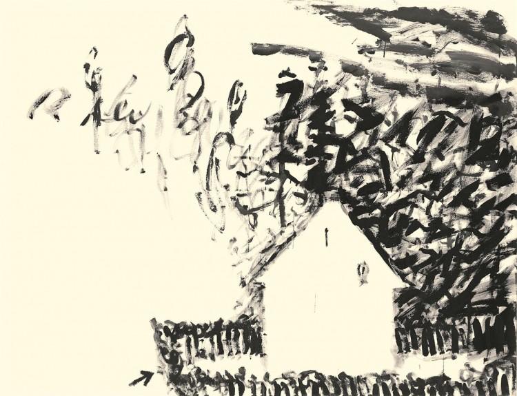 Hiša samomorilke Silve/ The House of Silva the Sui -cide / Das Haus der Selbstmörderin Silva, 1983, akril, platno / acrylic, canvas / Acryl, Leinwand, 180 x 240 cm