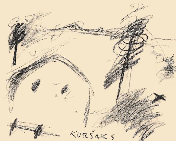 Kuršaks, 1984, prešano oglje, papir / pressed charcoal, paper / gepresste Kohle, Papier, 40,5 x 50 cm