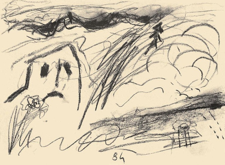 Haus, 1984, prešano oglje, papir / pressed charcoal, paper / gepresste Kohle, Papier, 37 x 50 cm