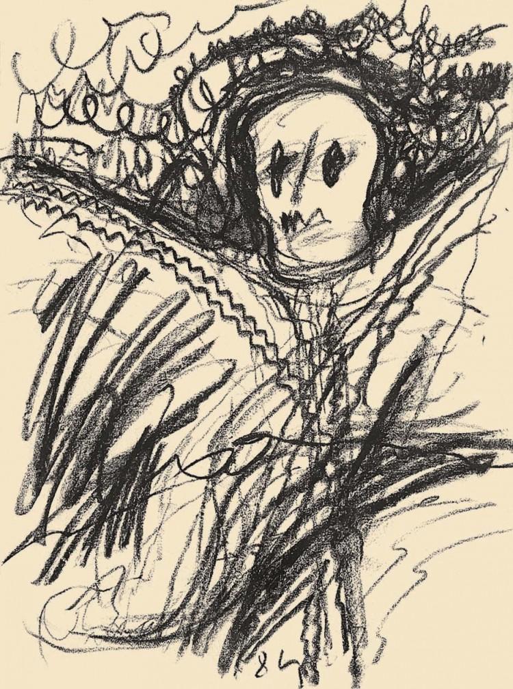 Kopf, 1984, oglje, papir / charcoal, paper / Kohle, Papier, 50 x 36 cm