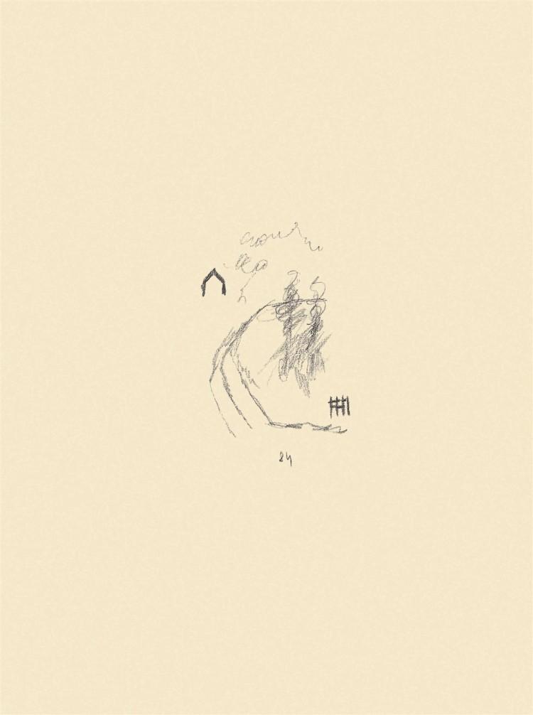 Reminiscence / Reminiscences / Reminiszenzen, 1984, grafit, papir / graphite, paper / Grafit, Papier, 49,5 x 37 cm