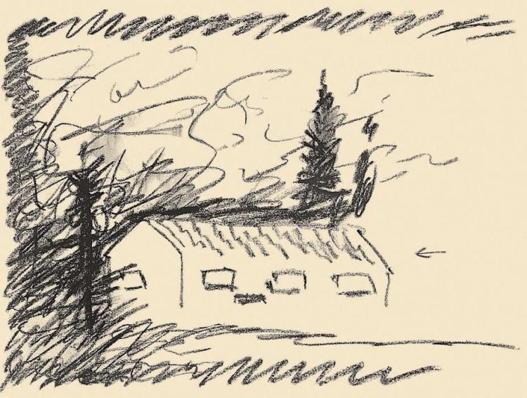 Reminiscence / Reminiscences / Reminiszenzen, 1984, grafit, papir / graphite, paper / Grafit, Papier, 37 x 49 cm