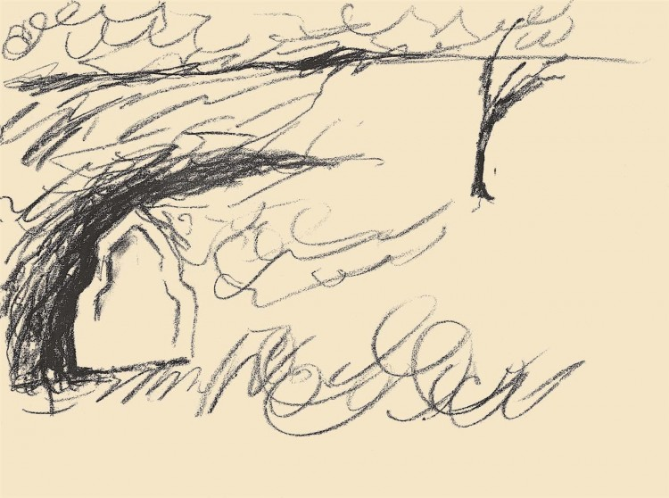 Reminiscence / Reminiscences / Reminiszenzen, 1984, oglje, papir / charcoal, paper / Kohle, Papier, 40 x 50 cm