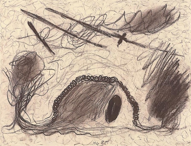 Krajina / Landscape / Landschaft, 1985, kreda, papir /chalk, paper, Kreide, Papier, 42 x 63 cm