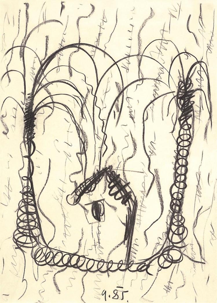 B.N., 1985, oglje, papir / charcoal, paper / Kohle, Papier, 76 x 54 cm