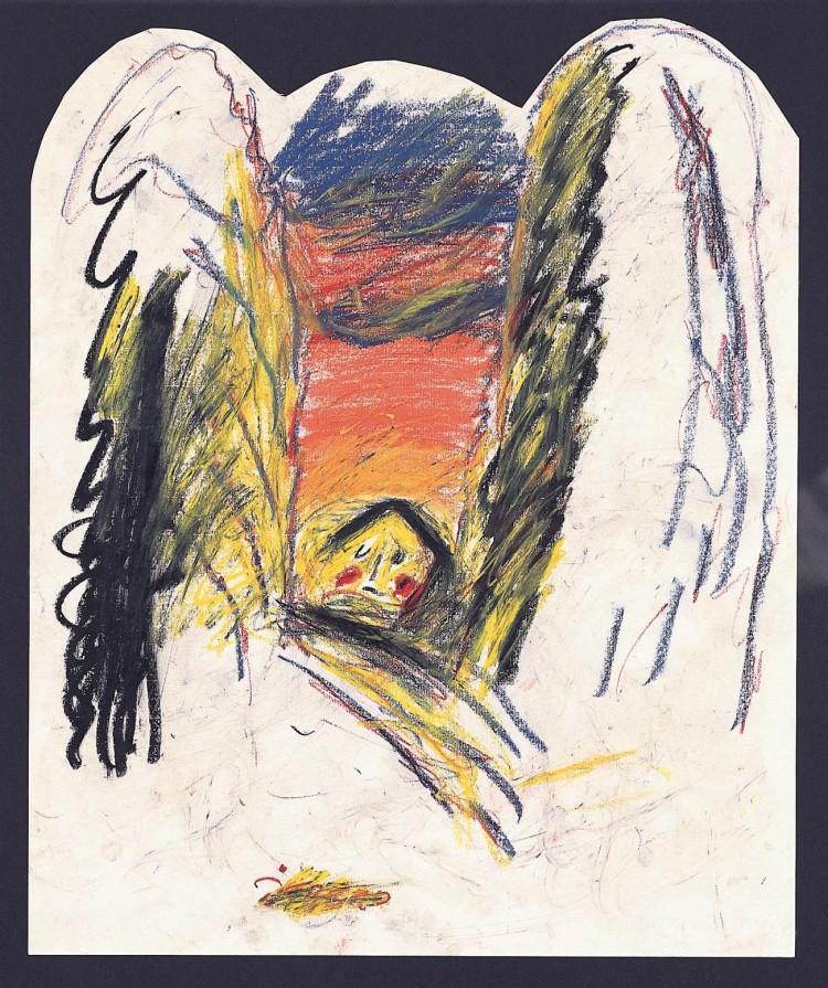 Hiša / House / Haus, 1985, pastel, papir / pastel, paper / Pastell, Papier, 60 x 50 cm
