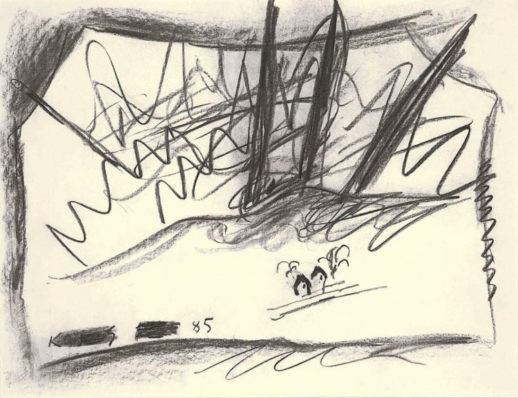 K. V. J., 1985, oglje, papir / charcoal, paper / Kohle, Papier, 50 x 65 cm