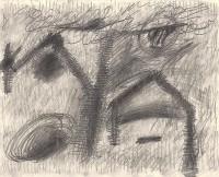 Haus, 1985, grafit, papir / graphite, paper / Grafit, Papier, 40 x 49,5 cm