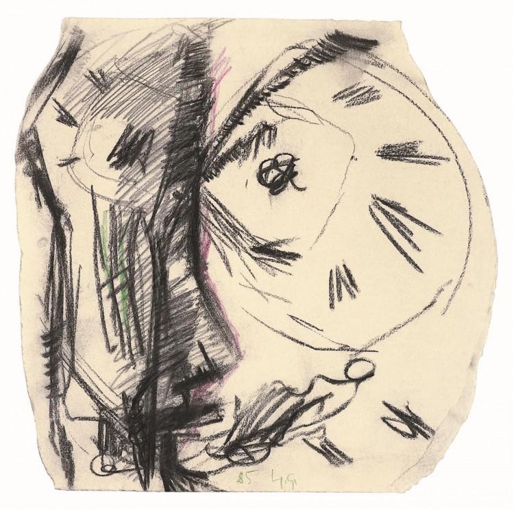 Glava / Head / Kopf, 1985, oglje, papir / charcoal, paper / Kohle, Papier, 41,5 x 40 cm