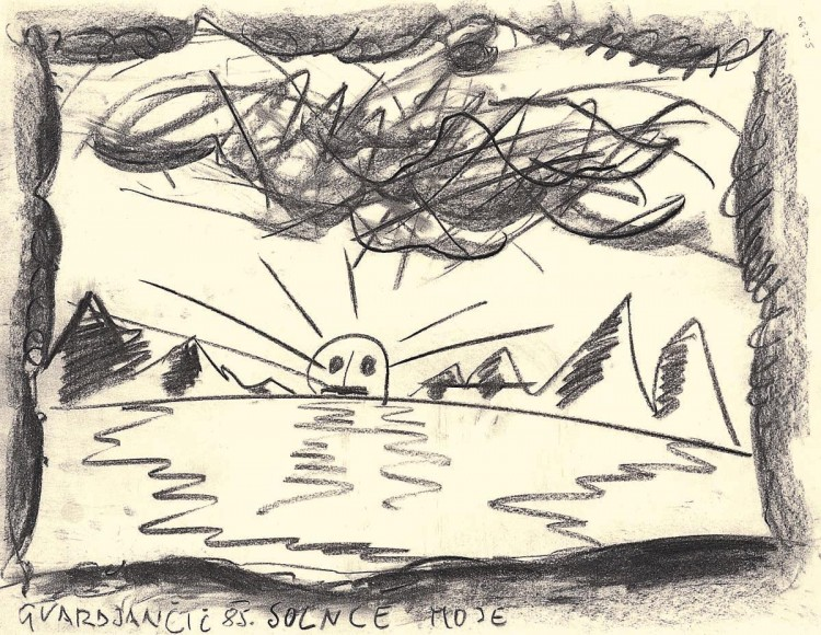 Sonce moje / My Sun / Meine Sonne, 1985, oglje, papir / charcoal, paper / Kohle, Papier, 50 x 65 cm