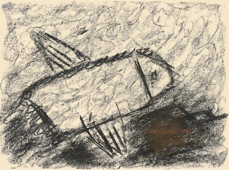 Leteči Max / Flying Max / Fliegender Max, 1985, oglje, papir / charcoal, paper / Kohle, Papier, 37 x 50 cm