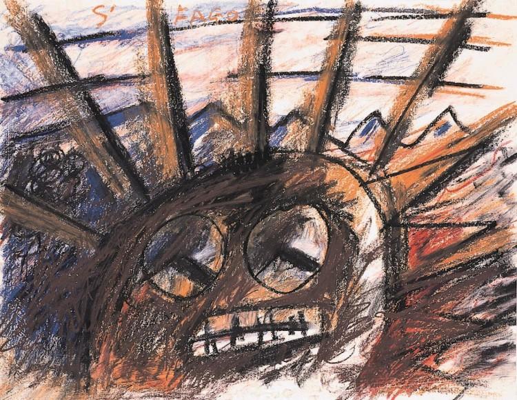 Color, 1986, oglje, papir / charcoal, paper / Kohle, Papier, 50 x 70 cm