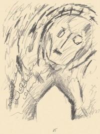 Kopf, 1985, grafit, papir / graphite, paper / Grafit, Papier, 50 x 36 cm