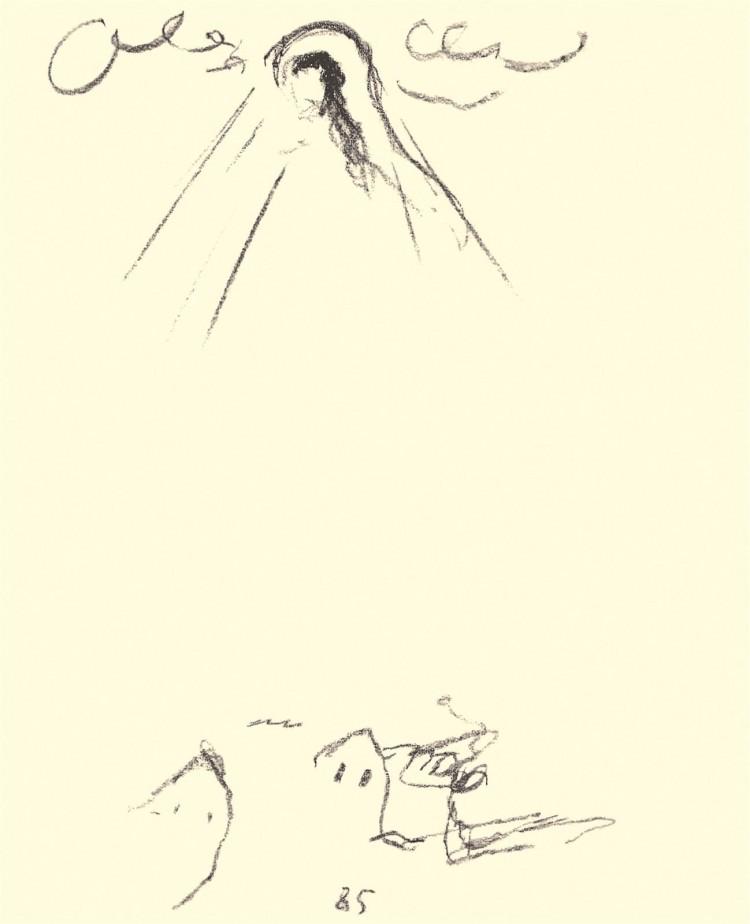B.N., 1985, prešano oglje, papir / pressed charcoal, paper / gepresste Kohle, Papier, 50 x 40,5 cm