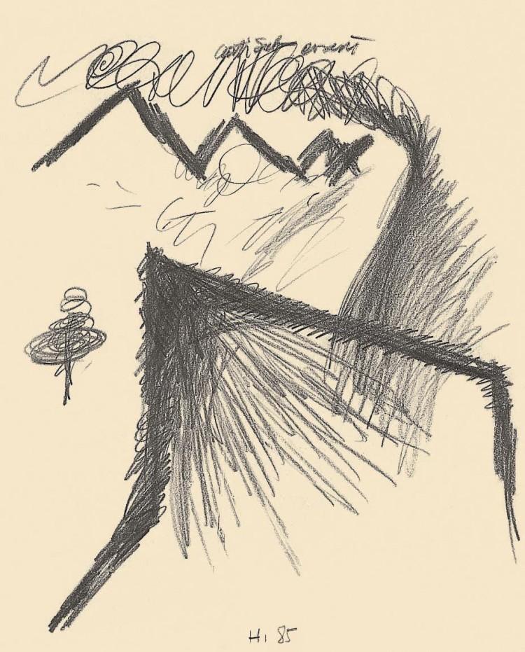 Krajina / Landscape / Landschaft, 1985, grafit, papir / graphite, paper / Grafit, Papier, 50 x 40 cm