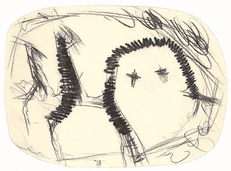 Glava – hiša /Head – House / Kopf – Haus, 1985, oglje, papir / charcoal, paper / Kohle, Papier, 44 x 61 cm