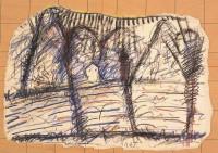 Krajina / Landscape / Landschaft, 1985, mešana tehnika, papir / mixed media, paper / gemis-chte Technik, 50 x 75 cm