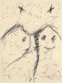 Par / Pair / Paar, 1985, prešano oglje, papir / pressed charcoal, paper / gepresste Kohle, Papier, 49 x 36,5 cm