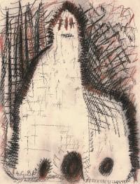 B.N., 1986, mešana tehnika, papir / mixed media, paper / gemischte Technik, Papier, 64,5 x 48 cm