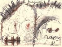 Reminiscence / Reminiscences, Reminiszenze, 1987, mešana tehnika, mixed media / gemischte Technik, 50 x 85 cm