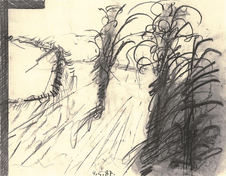 Reminiscence / Reminiscences, Reminiszenze, 1987, oglje, papir / charcoal, paper / Kohle, Papier, 50 x 65 cm