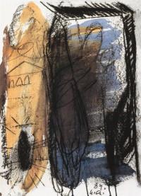 B. N., 1989, mešana tehnika, papir / mixed media, paper / gemis-chte Technik, 63 x 45 cm