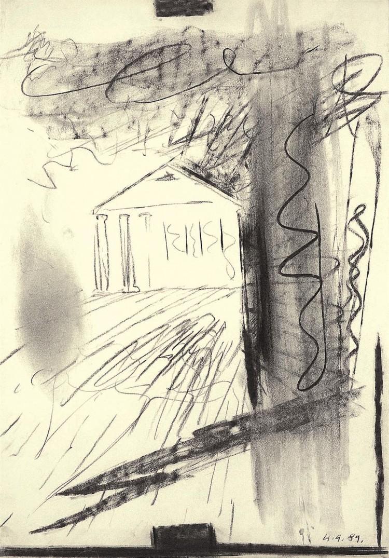 B.N., 1989, oglje, papir / charcoal, paper / Kohle, Papier, 75 x 53 cm