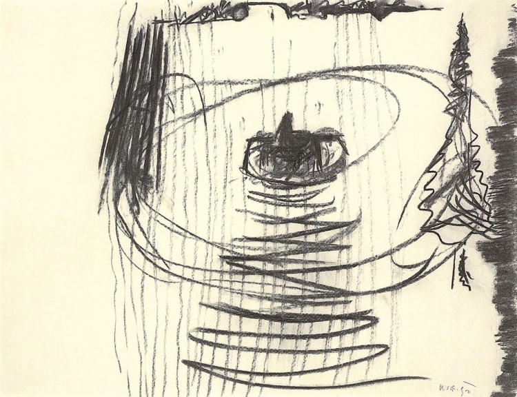 B.N., 1992, oglje, papir / charcoal, paper / Kohle, Papier, 50,5 x 65 cm