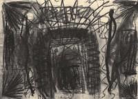 B.N., 1992, oglje, papir / charcoal, paper / Kohle, Papier, 42 x 58,5 cm