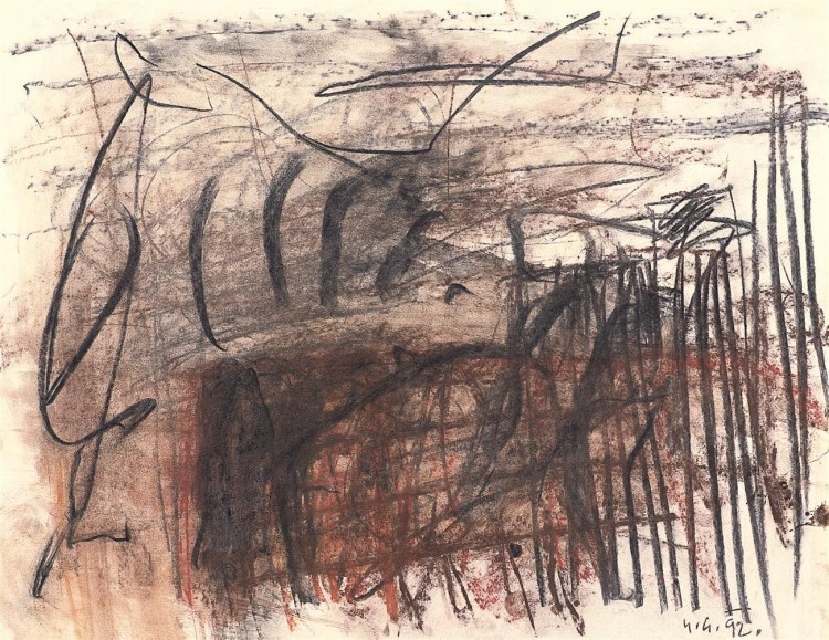 Krajina / Landscape / Landschaft, 1992, mešana tehnika, papir / mixed media, paper / gemischte Technik, Papier, 50 x 64 cm
