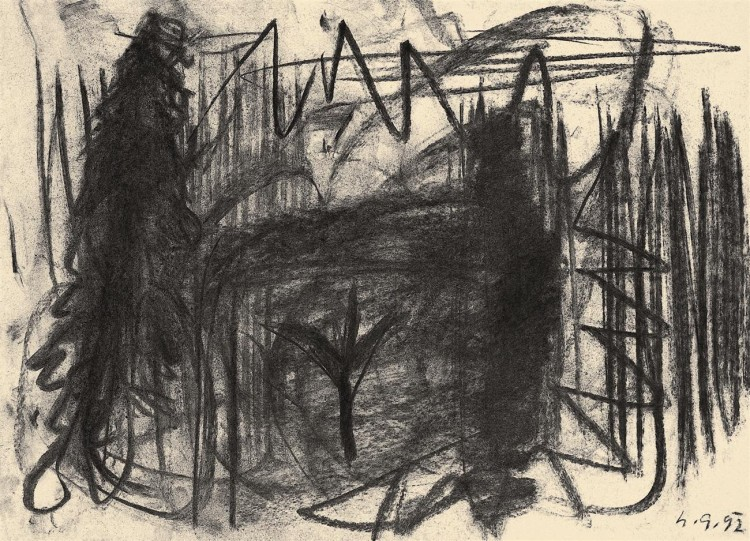 Krajina / Landscape / Landschaft, 1992, oglje, papir / charcoal, paper / Kohle, Papier, 51 x 37 cm