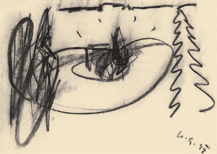 B.N., 1992, oglje, papir / charcoal, paper / Kohle, Papier, 42,5 x 59 cm