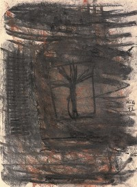 Osamelec / The lonesome tree / Einzelstehender Baum 1992, mešana tehnika, papir / mixed media, paper / gemis-chte Technik, 44 x 32 cm