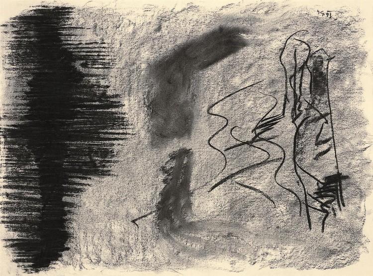 B.N., 1993, oglje, papir / charcoal, paper / Kohle, Papier, 50 x 67,5 cm