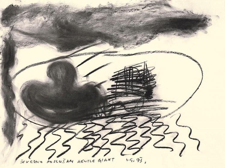 D.S.M.O., 1993, oglje, papir / charcoal, paper / Kohle, Papier, 50 x 67 cm