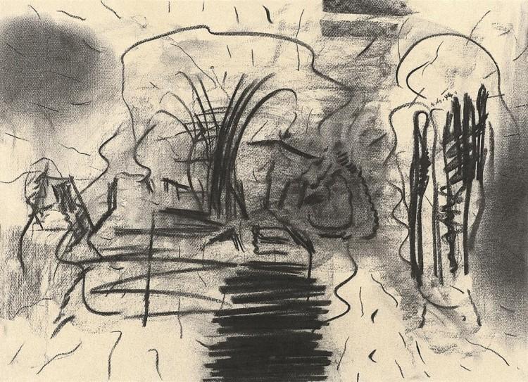 D.S.M.O., 1994, oglje, papir / charcoal, paper / Kohle, Papier, 50 x 69,5 cm
