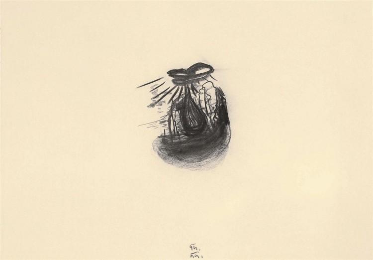 D.S.M.O., 1994, oglje, papir / charcoal, paper / Kohle, Papier, 53,5 x 75,5 cm