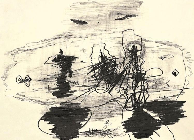 A.L.V.N., 1995, grafit, papir / graphite, paper / Grafit, Papier, 30 x 40 cm