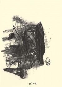 A.L.V.N., 1995, oglje, papir / charcoal, paper / Kohle, Papier, 41,5 x 30 cm