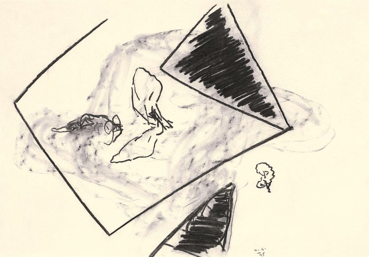 D.S.M.O., 1995, oglje, papir / charcoal, paper / Kohle, Papier, 52 x 75 cm