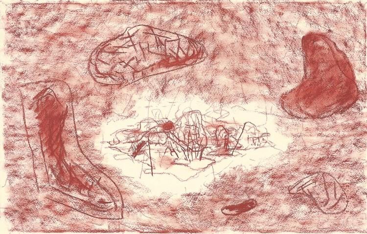 D.S.M.O., 1995, kreda, papir /red chalk, paper, Rote Kreide, Papier, 37 x 58 cm