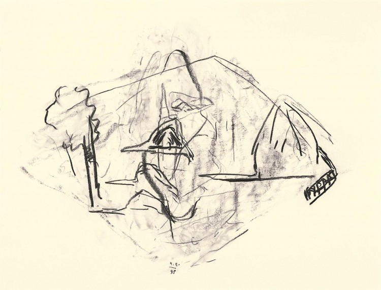 A.L.V.N., 1995, oglje, papir / charcoal, paper / Kohle, Papier, 56,5 x 73,5 cm