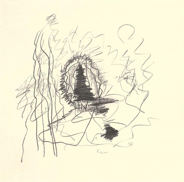 A.L.V.N., 1995, grafit, papir / graphite, paper / Grafit, Papier, 53 x 53 cm