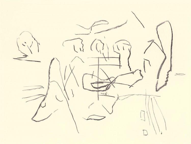 A.L.V.N., 1995, oglje, papir / charcoal, paper / Kohle, Papier, 56 x 74 cm