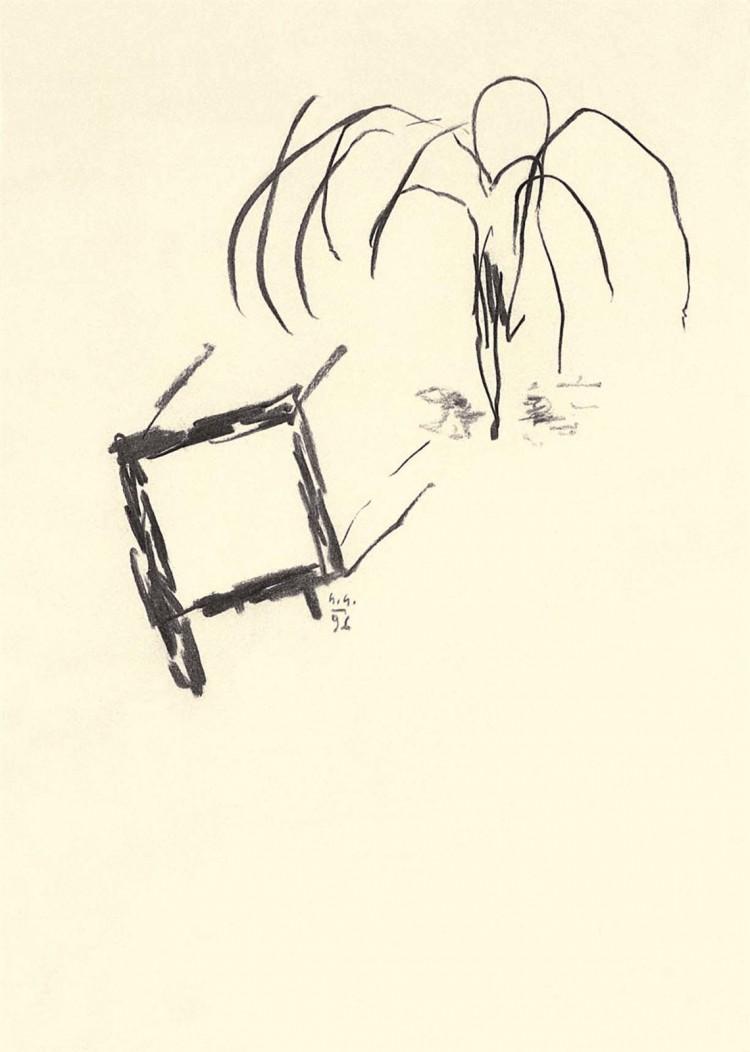 Nostalgije / Nostalgias / Nostalgien, 1996, oglje, papir / charcoal, paper / Kohle, Papier, 41 x 30 cm