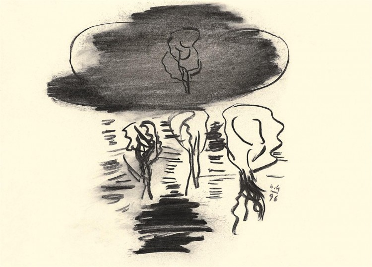 Nostalgije / Nostalgias / Nostalgien, 1996, oglje, papir / charcoal, paper / Kohle, Papier, 30 x 41 cm